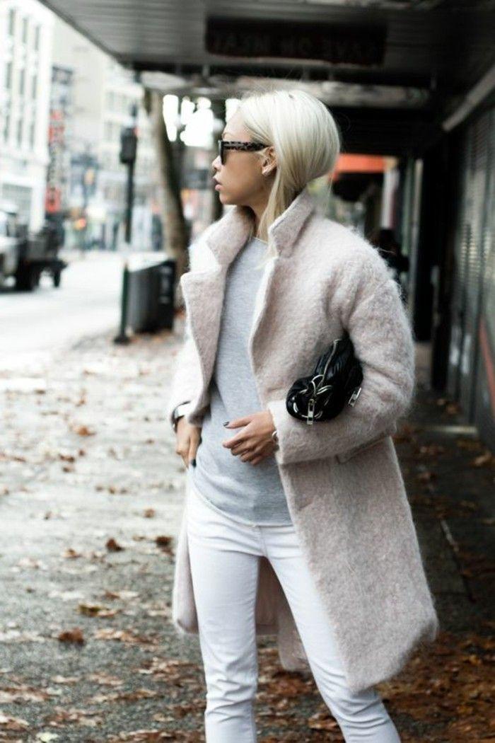 """Manteau en jean court blanc р""""в capuche"""