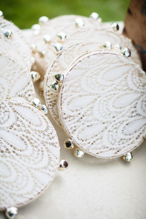 How perfectly cute and boho are these lace tambourine wedding favours?!
