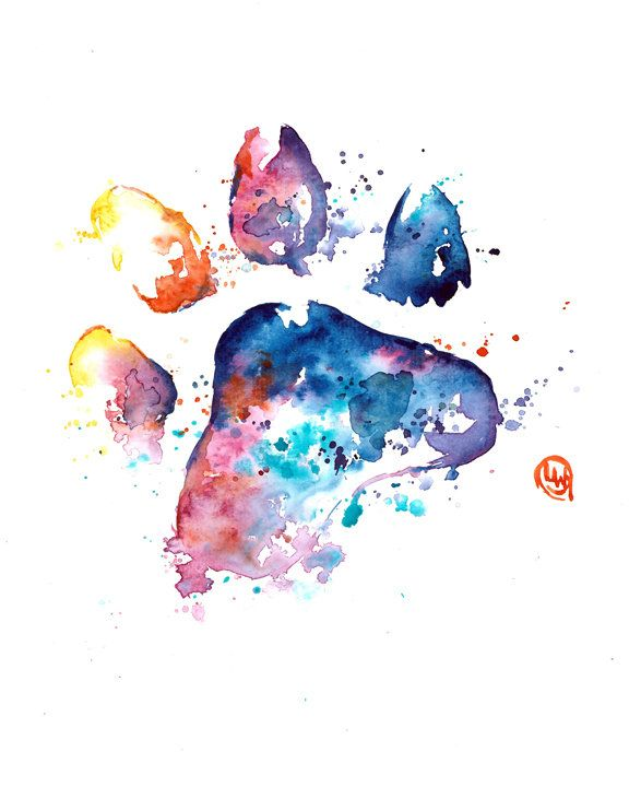 Printable Dog Paw Print Pet Loss And Memorial Watercolour Art