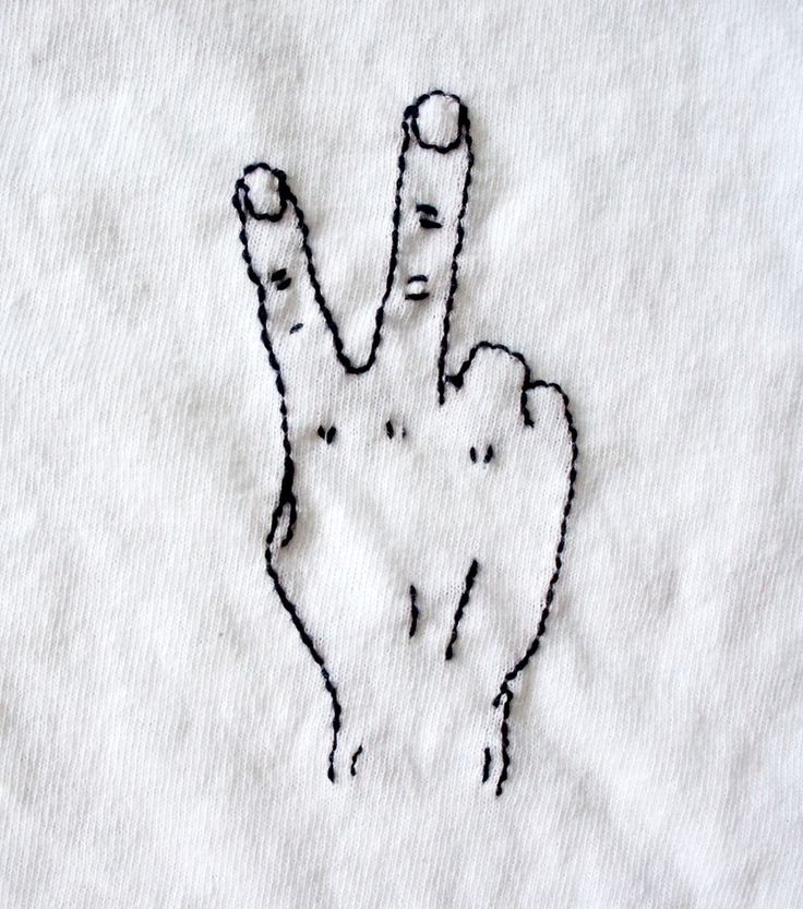 Peace Finger Embroidery TShirt