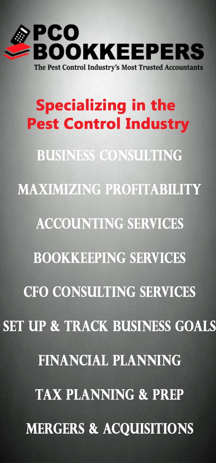 Our expert bookkeepers and accountants cater to the Pest Control Industry Professionals. #bookkeeping #accounting #bookkeeping_services #pco_industry #pcobookkeepers #accounting_tips #kpi #tax_tips #tax_audits #taxes #tax_deductions #accounts_payable_consultants #business_consultants #gross_margins #kpi_tips #management_advice #employee_compensation_tips #profit_margin #gross_margin #cpa_advice #daniel_gordon_cpa #Dan_Gordon_author