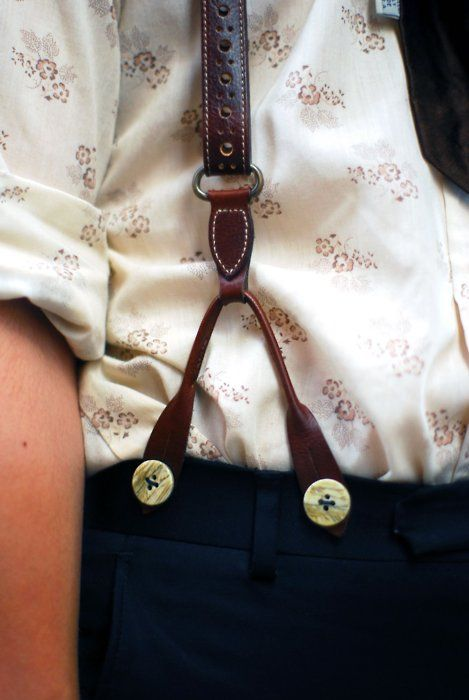 Leather braces and Floral print blouse  I love this unfortunately I don't think braces will cope with my chest!!