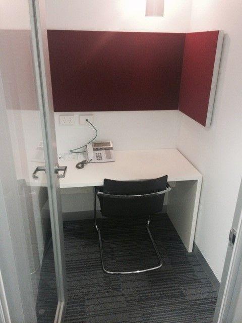 Custom Made Chilli Red acoustic Panels with Aluminium Surround. New 32mm laminate Desks