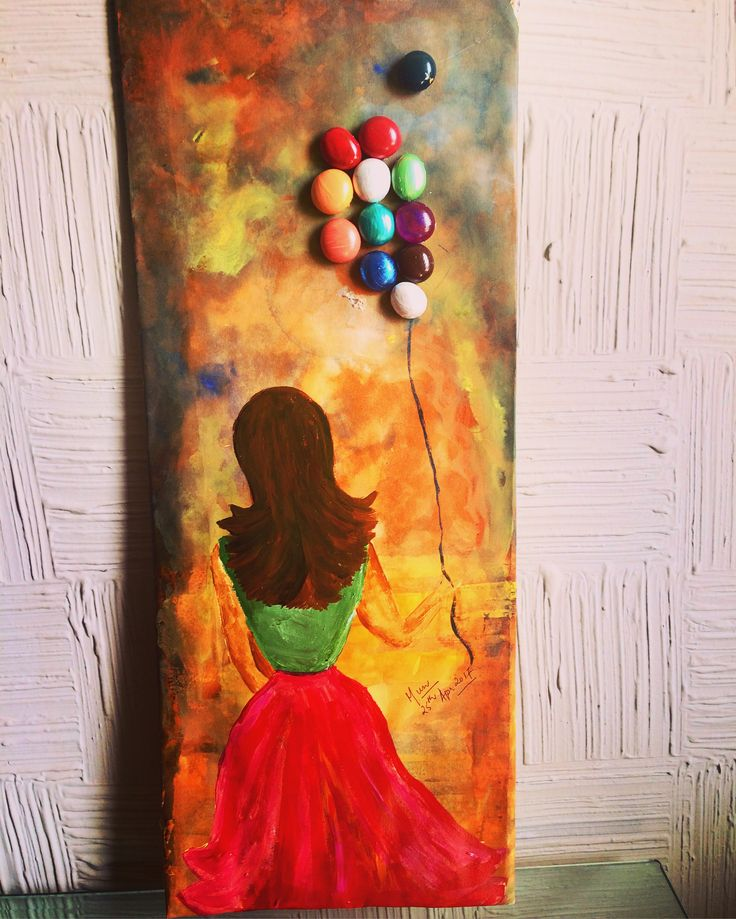 Oil painting & pebbles as balloons