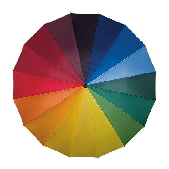 Flot regnbuefarvet paraply med træ skaft og håndtag.  Paraplyen er opbygget med 16 ribs som giver en robust konstruktion. Med denne flotte multifarvet paraply kan du sætte kulør på en regnvejs dag. Paraplyen har en god størrelse uden at være for tung.  Længde sammenslået : 97 cm Diameter : 109 cm Træskaft og glasfiber ribber 100 % polyester