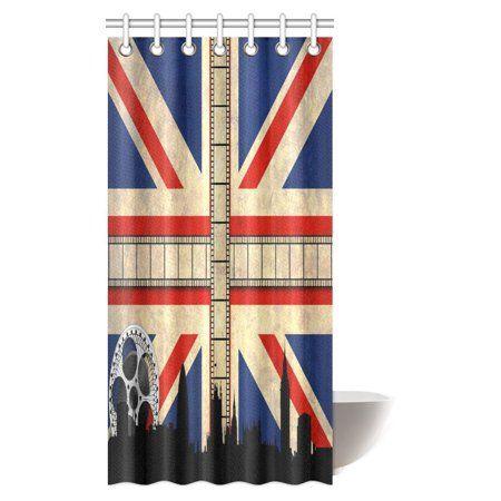 Lovely MYPOP Union Jack Shower Curtain, Grungy Aged UK Flag Big Ben  WO98