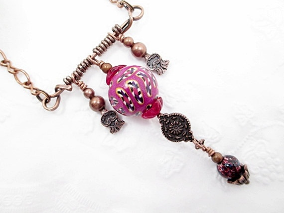 Talisman Beaded Necklace Purple Bead Necklace by LittleBitsOFaith, $25.00: Charms Beads, Necklaces Purple, Talisman Beads, Beaded Necklaces, Purple Beads, Beads Necklaces, Charm Bead, Necklaces Pink, Bead Necklaces