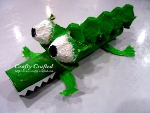 egg carton Alligator other crafts including paper plate cow elephant