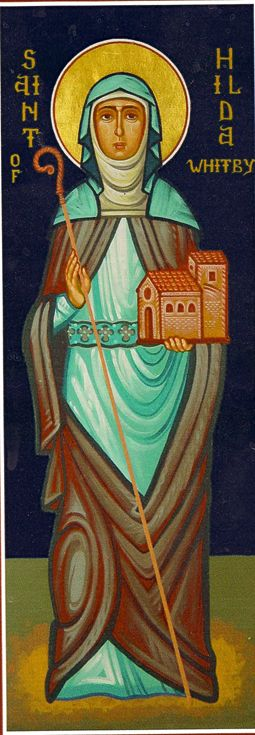 St. Hilda icon with her Abbess staff in her right hand and her Abbey in her left hand