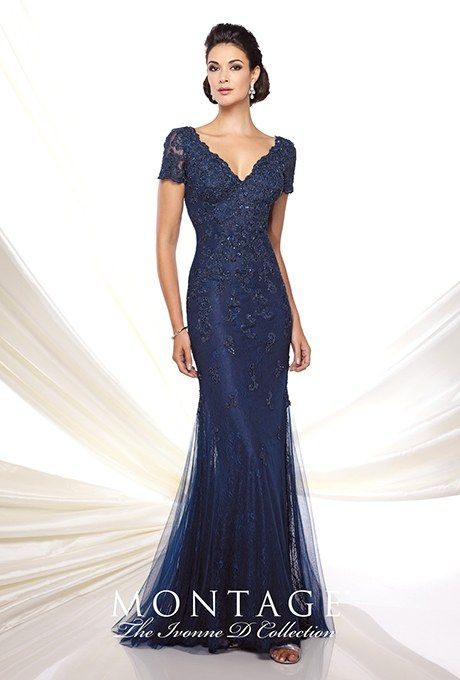 Style 116D32, lace and tulle trumpet V-neck gown, price upon request, The Ivonne D Collection for Montage by Mon Cheri