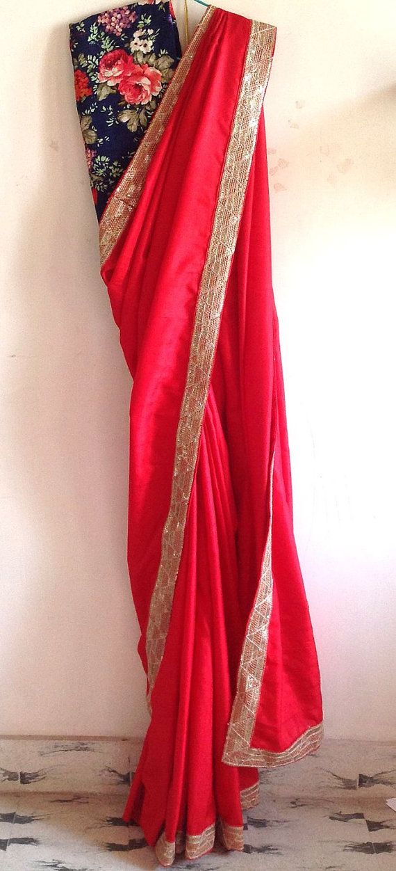 Red semi silk sari with sequin border and by GiaExquisiteIndian