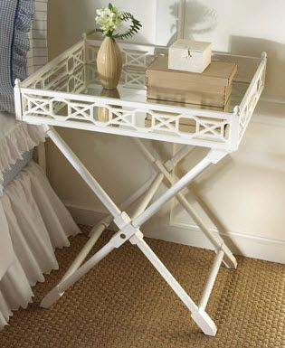 Delightful DIY TV Tray Transformation; Mirrored White Tray Top Table