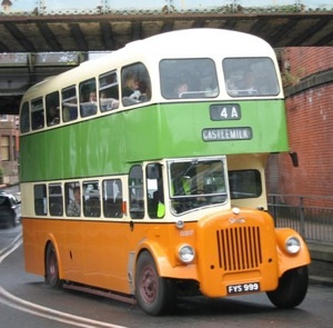 Old glasgow bus- This is the kind of bus I remember riding in as a child.