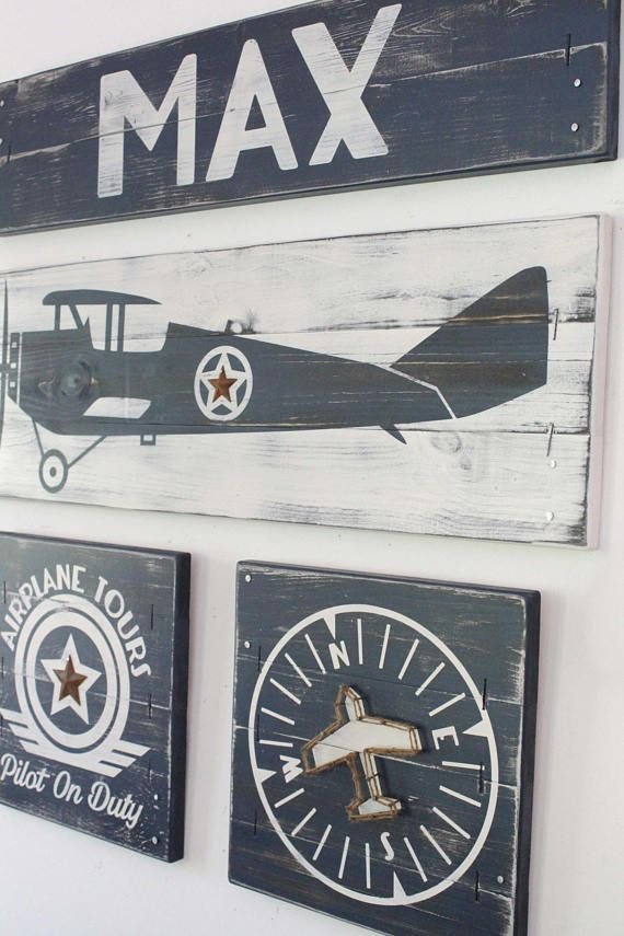 This Is A Set Of Three Vintage Airplane Art Pieces A Plane A Compass And A Pilot On Duty Sign Ea Vintage Airplane Decor Airplane Wall Decor Airplane Decor