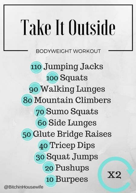 Take It Outside Workout — body weight workout anywhere. Bitchin' Housewife