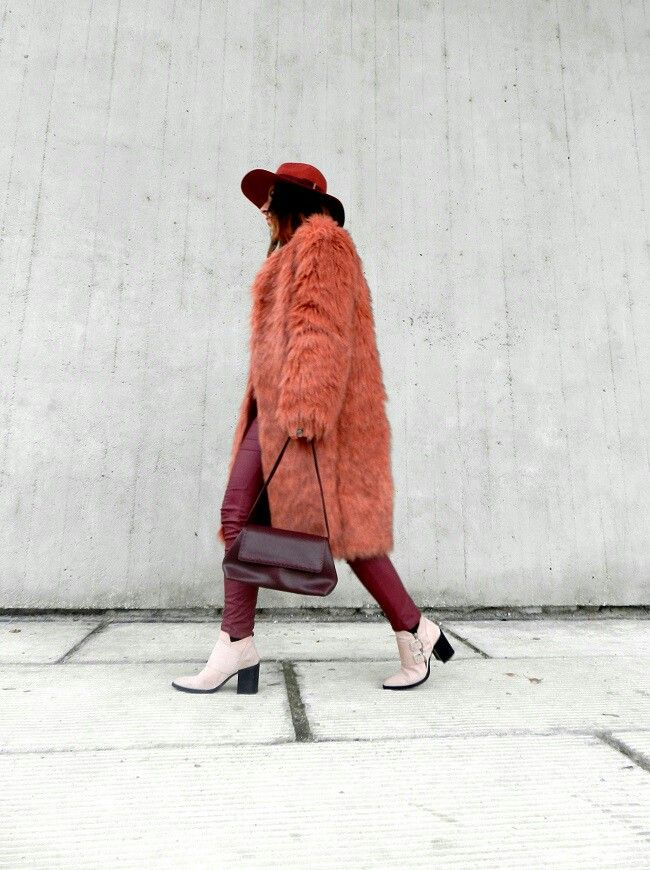 Pink fur winter outfit