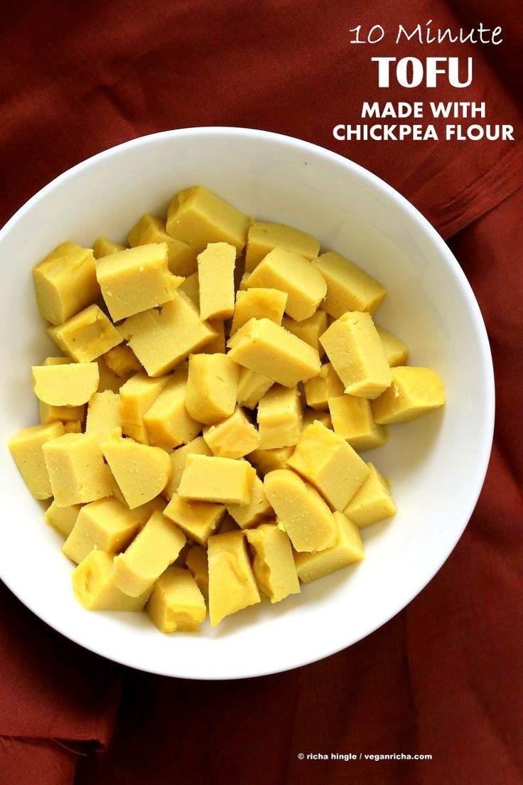 Chickpea flour Tofu. 10 min Non soy tofu made with Chickpea flour or Besan / gram flour. Easy Burmese tofu. Vegan Gluten-free Soy-free Nut-free Recipe.| VeganRicha.com