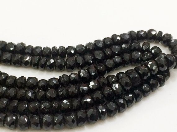 Black Tourmaline Beads Black Tourmaline Faceted by gemsforjewels
