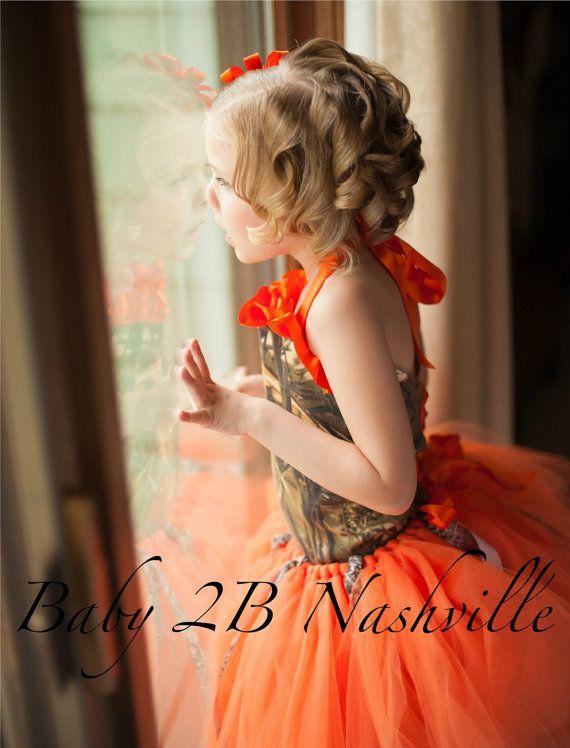 Orange Camo Flower Girl Tutu  Baby to Girls 10 by baby2bnashville. Explore more products on http://baby2bnashville.etsy.com