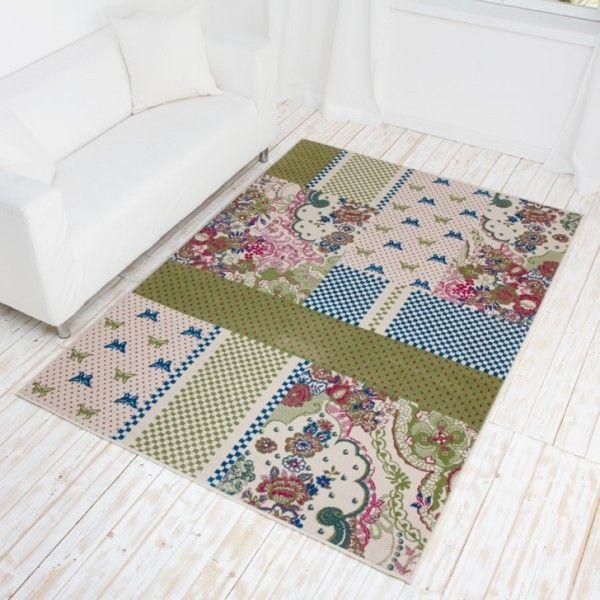 Designer Teppich Butterfly - Kurzflor Teppich mit Patchwork Muster