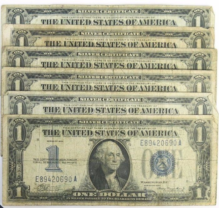 Spectacular Lot of 6 – 1934 $1 Silver Certificate Funny Back Note Blue Seal https://www.paper-money-collector.com/product/lot-of-6-1934-1-silver-certificate-funny-back-note-blue-seal/ #Numismatics #UnitedStates #Silver