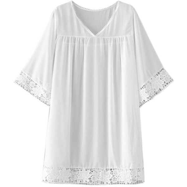 White V-neck Crochet Lace Trim Kimono Sleeve Beach Cover Up ($27) ❤ liked on Polyvore featuring swimwear, cover-ups, dresses, crochet swimwear, v neck cover up, swim cover up, crochet beachwear and white cover ups