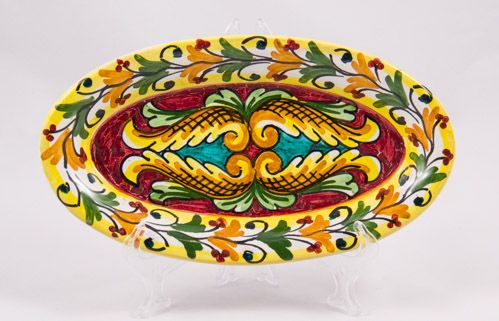 #Souvenir #Plate: #Italy. #Sicily. Two Yellow Tulips. #Caltagirone #Ceramics. Hand Made. Oval. Diameter 21 cm