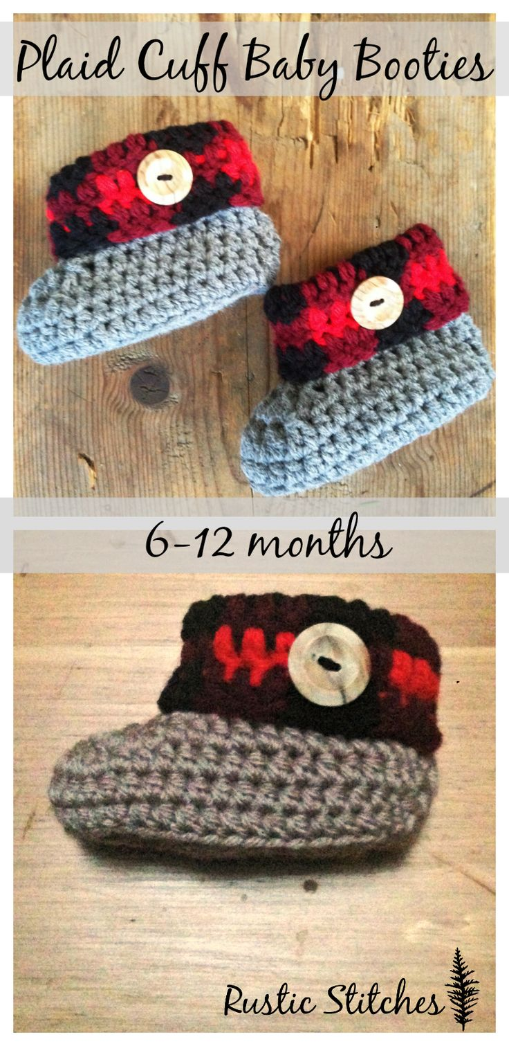 Plaid Cuff Baby Booties - Free patter for sizes 6-9 and 9-12 months now available! Newborn-6 months also available!