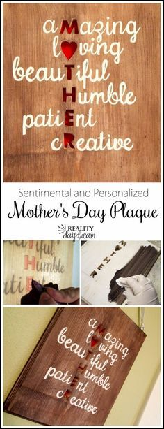 "Creative DIY Mothers Day Gifts Ideas - Wall Art for Mom - Thoughtful Homemade Gifts for Mom. Handmade Ideas from Daughter, Son, Kids, Teens or Baby - Unique, Easy, Cheap Do It Yourself Crafts To Make for Mothers Day, complete with tutorials and instructions <a href=""http://diyjoy.com/diy-mothers-day-gift-ideas"" rel=""nofollow"" target=""_blank"">diyjoy.com/...</a>"