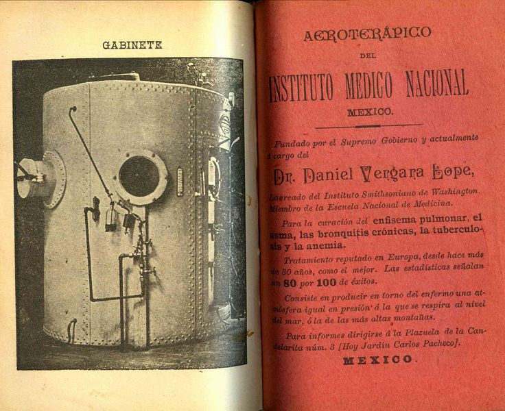 Terapia pulmonar. Noveno almanaque de efemérides del Estado de Puebla, para el año de 1900 / por José de Mendizábal. (R) 529.4 MIS.2. Colección de Calendarios Mexicanos del Siglo XIX. Fondo Antiguo. Biblioteca del Instituto Mora, México. Pulmonary therapy. Ninth almanac of ephemeris of the State of Puebla, for the year 1900 / by José de Mendizábal. (R) 529.4 MIS.2. Collection of Mexican Calendars of the 19th Century. Old Background. Library of the Mora Institute, Mexico.