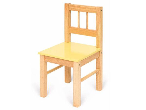 Stoeltje Geel BigJigs BJ366. Mooie houten stoel voor uw (klein)kind! Voorzien van geel zitje en leuk te combineren met de BigJigs houten tafels. - BigJigs houten Stoeltje Geel