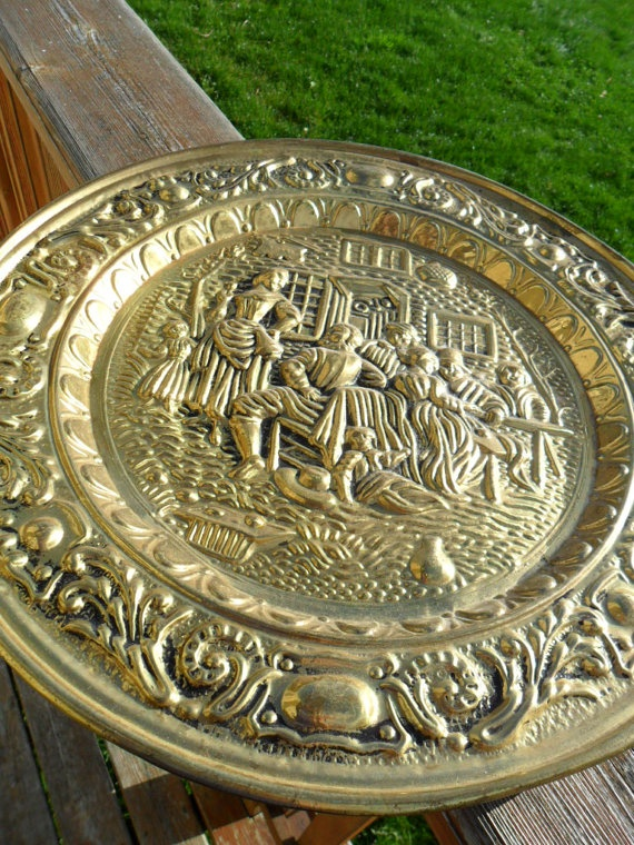 Vintage Brass Plate Wall Hanging Made In England Large
