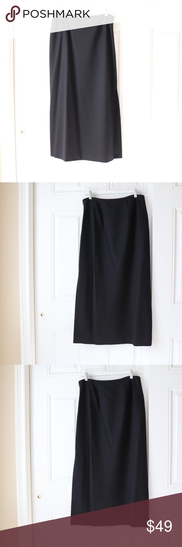 "Ann Taylor Black Long Skirt Size 10 Ann Taylor Black Long Skirt. Size 10. Side zip closure. Fully lined.  Lightweight wool fabric can be worn year-round.  Condition: Gently used.  Material:    96% Wool, 4% Lycra.  Measurements laying flat, across front: Waist- 15.5""    Length- 36""    Left Side Slit Opening- 18""  Pet free and smoke free home. Ann Taylor Skirts Maxi"