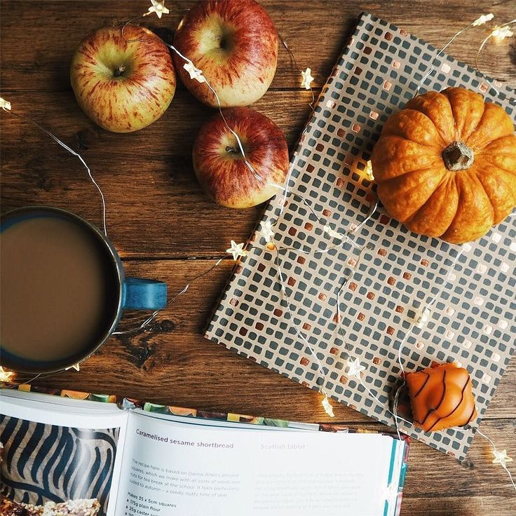 Autumn, coffee, cosy, cozy, fairy lights, pumpkin, apples, notebook, recipe book, flatlay photography, fall styling inspiration, Instagram by @capturebykaye