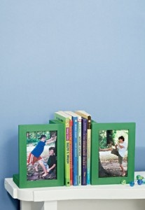 Frames as bookends, with pictures of your kids pushing up against something... Fun for Father's Day?