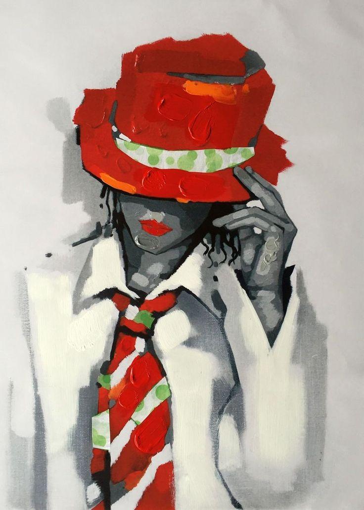 Ragazza con cappello e cravatta   Misure: 60x80  Hand painted prints