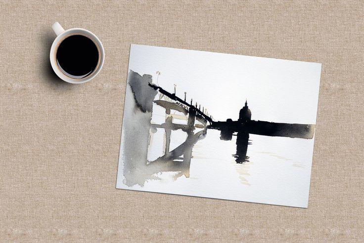 Quelques heures au clame, du coup j'en profite pour expérimenter ... café (du vrai) et encre noire ! http://www.virginieschroeder.com/