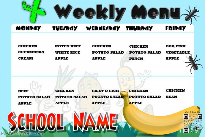 Cute weekly menu poster for school http://www.postermywall.com/index.php/poster/view/f7404ee17eaf7b05c4e1cf6c287b4e6a