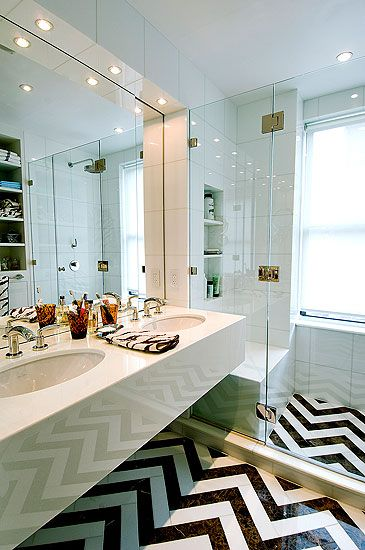 Chevron black white marble tile floor