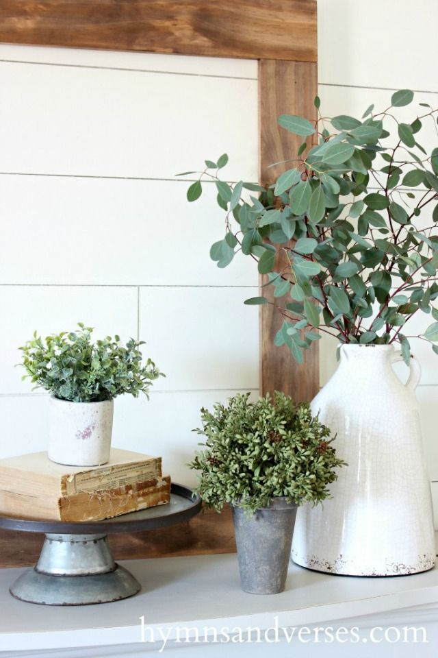 Love this simple spring mantel eclecticallyvintage.com