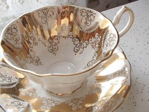 Antique gold tea cup set vintage Queen Anne gold by ShoponSherman, $125.00