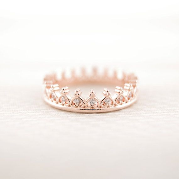Gold/ Silver/ Pinkgold CZ Crown Ring by bkandjio on Etsy