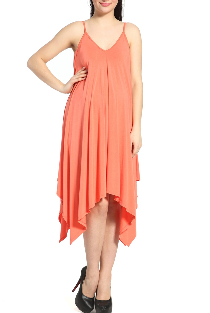 'Betsy' Handkerchief Cut Dress in Coral