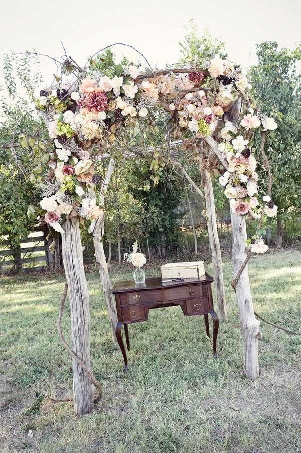 Memorable Outdoor Wedding Ceremony - perhaps a Grandmothers desk - she can be apart of the wedding too