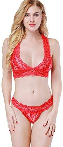 3ab01086dd ETAOLINE Women s Sexy Floral Lace Sheer See Through Underwear Bra Panty Set
