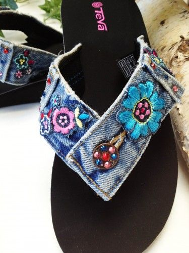 """Recycle ~ Reuse ~ Re-purpose ~ Reinvent The """"OK"""" Flip Flop Thong Sandal is created from Re-purposed Blue Jean Denim and embellished with Sparkling Authentic Austrian Swarovski Crystals & Re-Claimed Embroidery. Using a Teva Mandlyn Base, not only are these flips extremely comfortable they look amazing day or night!"""