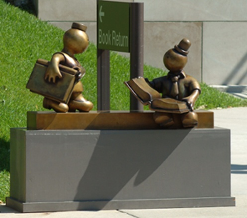 """Part of """"The Gates"""" Exhibition by Tom Otterness (1998) - Cleveland Public Library, Cleveland, Ohio; photo by Tom Otterness"""