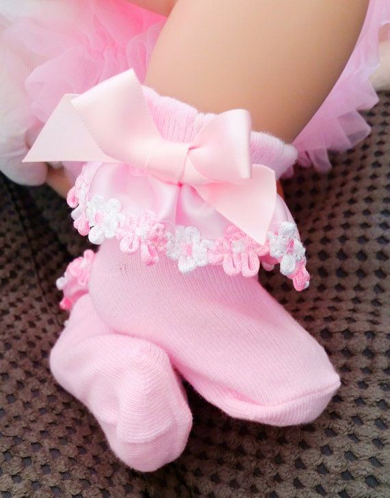 Baby Girls Satin Frilly Flower Trim Ankle Socks Pink White Cotton 0-12 Months
