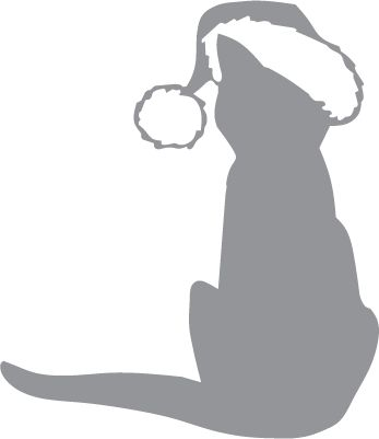 Glass etching stencil of Cat with Christmas Hat. In category: Animals, Christmas