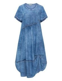 zedd plus Washed out effect woven fabric dress  in Blue